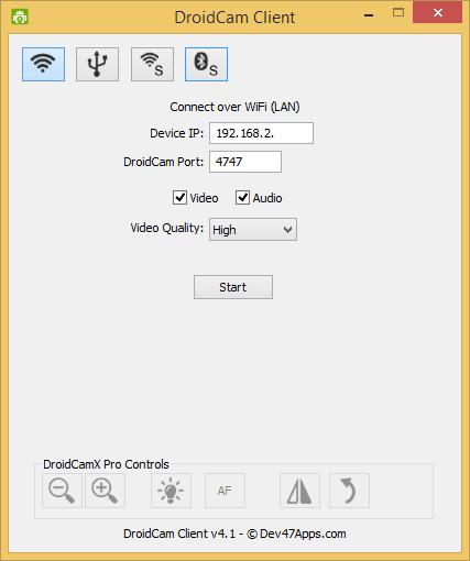 Usar el teléfono Android como cámara web para PC con Windows usando DroidCam