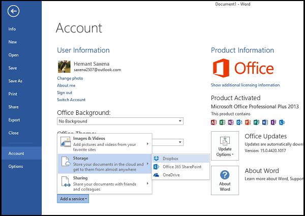 Añadir Dropbox como un servicio en nube a Office 2013/2016