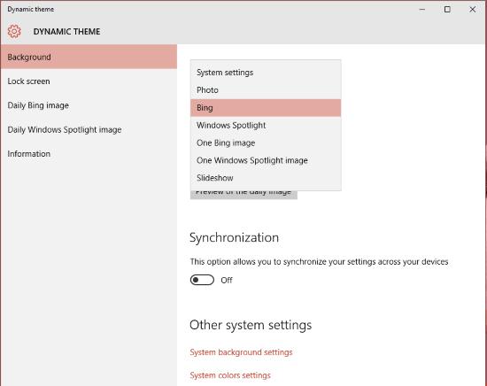 Establecer imágenes Bing y Spotlight como fondo o pantalla de bloqueo en Windows 10, automáticamente 1