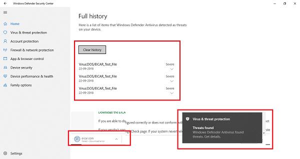Cómo comprobar o probar si el antivirus funciona correctamente o no en un PC con Windows