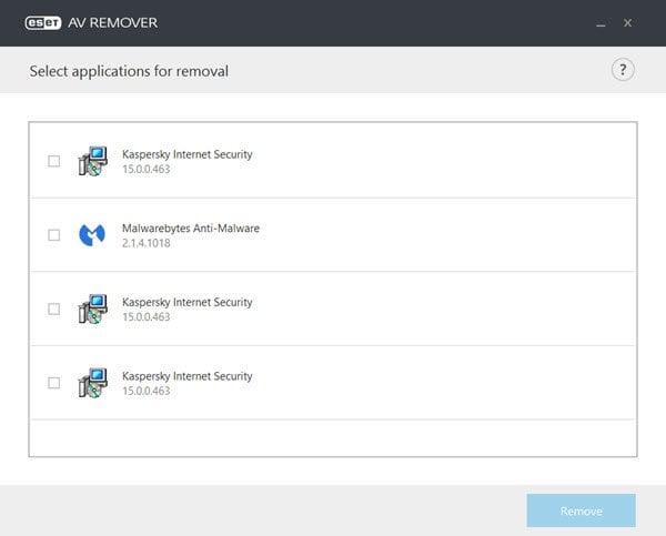 La herramienta ESET AV Remover desinstalará completamente CUALQUIER software de seguridad.