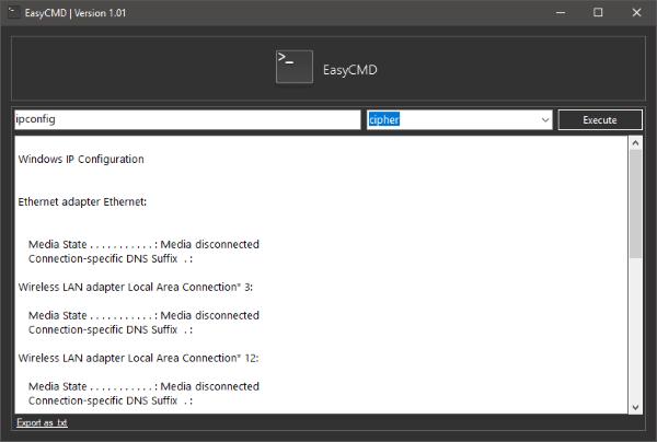 EasyCMD le permite ejecutar comandos CMD básicos desde una interfaz de usuario en un PC con Windows.