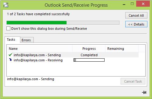 El correo electrónico de Outlook permanece en la bandeja de salida hasta que se envía manualmente 2