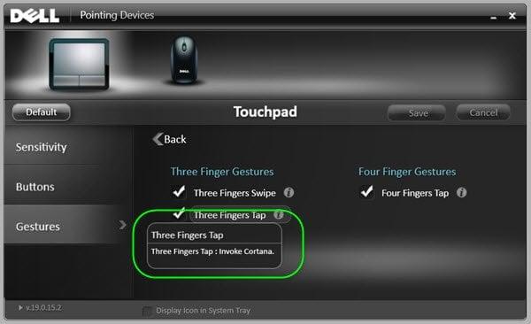 Habilitar 3 dedos Tap para iniciar Cortana en Windows 10