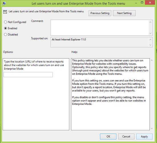 Desactivar o activar el modo empresarial para Internet Explorer 11