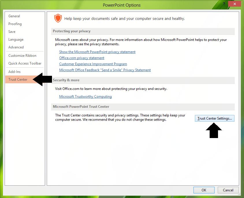 Habilitar o deshabilitar advertencias de hipervínculos para programas de Office 3