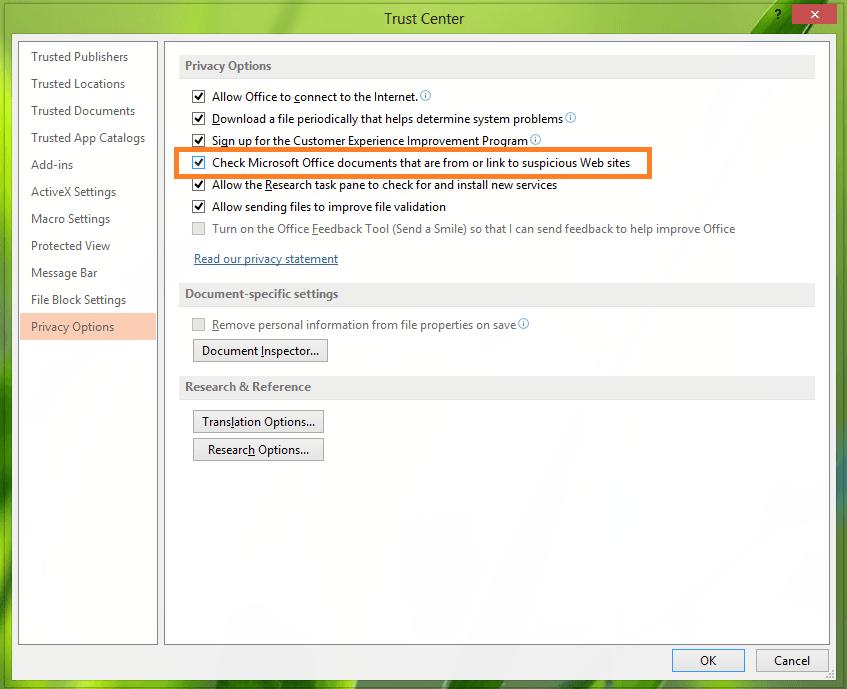 Habilitar o deshabilitar advertencias de hipervínculos para programas de Office 4