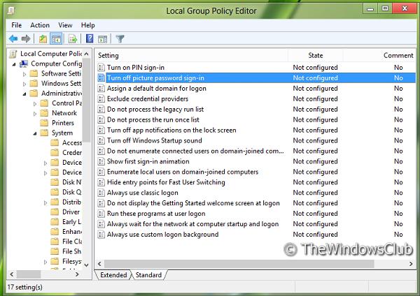 Activar o desactivar el inicio de sesión con contraseña de imagen en Windows 8 4