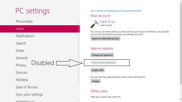 Activar o desactivar el inicio de sesión con contraseña de imagen en Windows 8 1