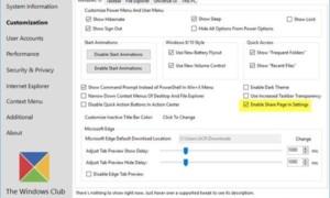 Habilitar y mostrar la página Configuración de uso compartido oculta en Configuración de Windows 10
