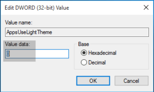 Habilitar Tema Oscuro de Windows 10 usando Registry Tweak