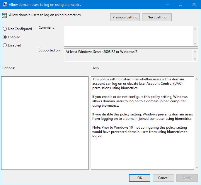 Desactivar o habilitar el inicio de sesión de los usuarios de dominio mediante Biometría en Windows 10