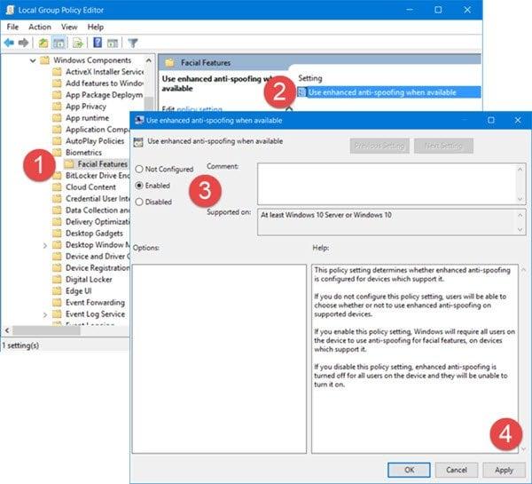 Habilitar la característica mejorada de antispoofing en Windows 10