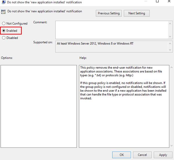 Desactivar: Tiene nuevas aplicaciones que pueden abrir este tipo de notificación de archivos en Windows 10.