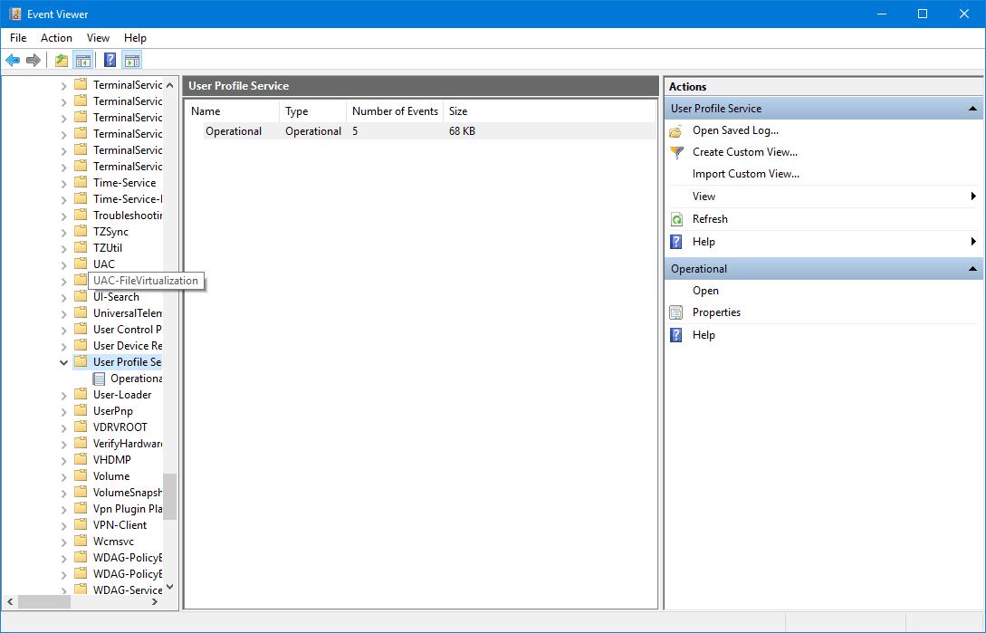 Perfil de usuario ID de evento de servicio 1500, 1511, 1530, 1533, 1534, 1542