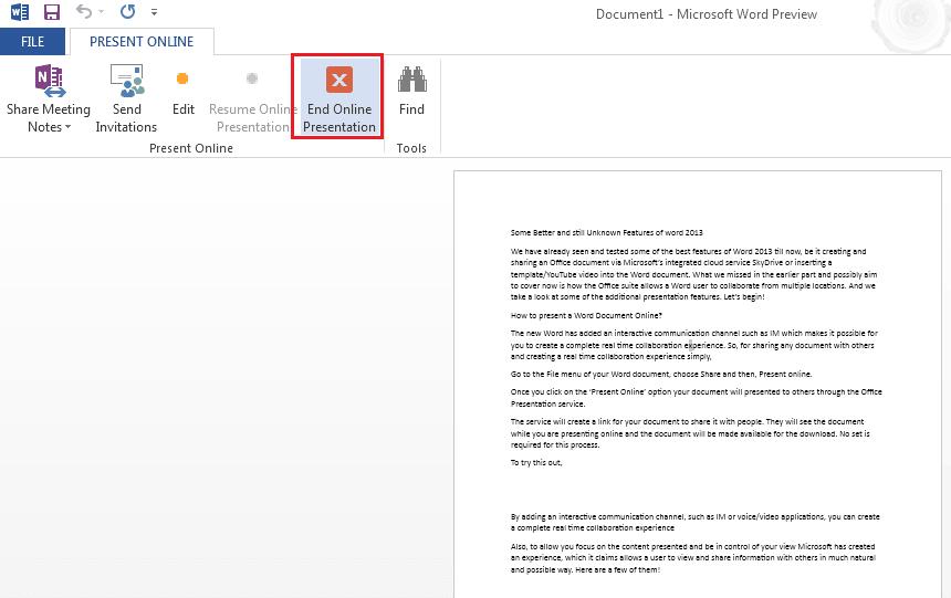 Cómo presentar un documento de Word 2013 en línea