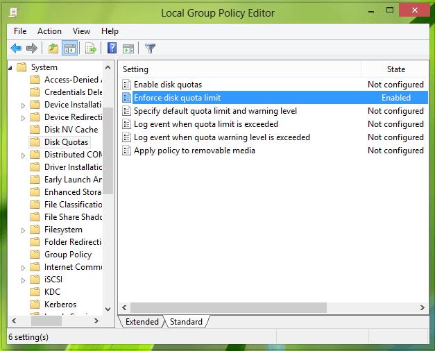 Imponer el límite de cuota de disco y evitar que los usuarios cambien la configuración en Windows 10 3