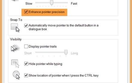 Si se desactiva Enhance Pointer Precision en Windows 10/8/7?