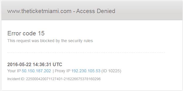 Código de error 15 o Código de error 16: Esta petición fue bloqueada por las reglas de seguridad 1