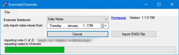 Mover contenido de EverNote a OneNote utilizando Evernote2OneNote 3
