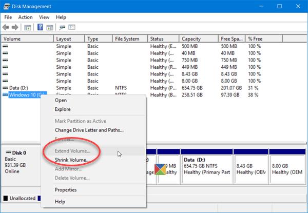 La opción Ampliar volumen está en gris o desactivada en Windows 10/8/7