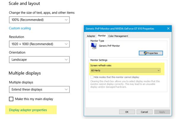 Monitor externo no detectado con un portátil con Windows 10