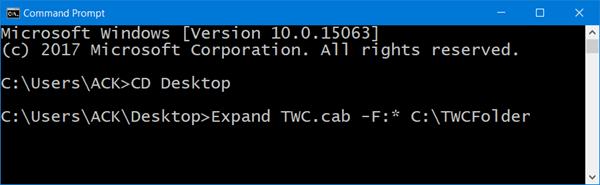 Cómo extraer un archivo CAB usando herramientas de línea de comandos en Windows 10/8/7