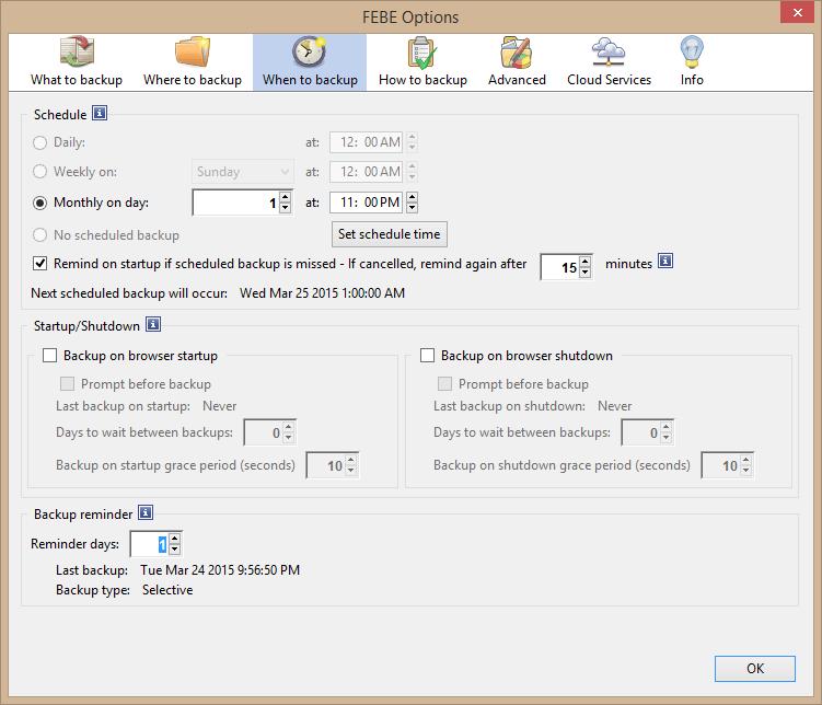 FEBE: Copia de seguridad de complementos de Firefox, extensiones, temas, contraseñas, marcadores, etc. 2
