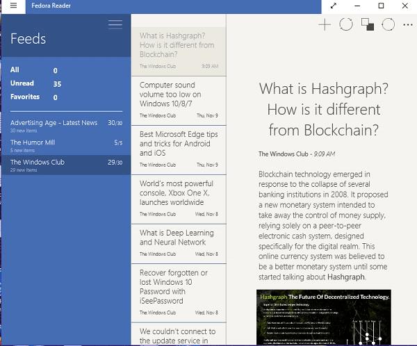Las mejores aplicaciones gratuitas de RSS Reader Windows Store para Windows 10