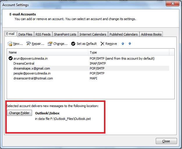 Cómo combinar la bandeja de entrada de Outlook de varias cuentas 2
