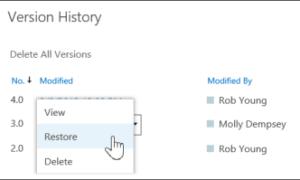 Restaurar la versión anterior del documento en OneDrive, Personal o Business