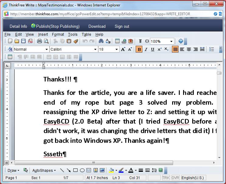 Revisión de ThinkFree Office - Alternativa gratuita de Microsoft Office