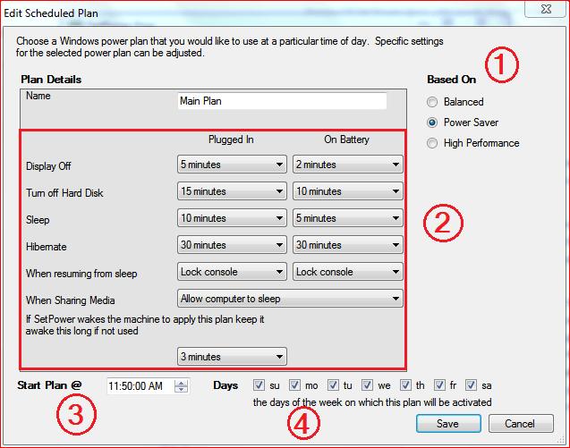 Revisión de SetPower Free : Administrar múltiples carteras de energía en Windows