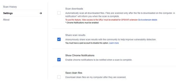 OPSWAT File Security for Chrome analiza los archivos descargados con 30 motores antimalware 5