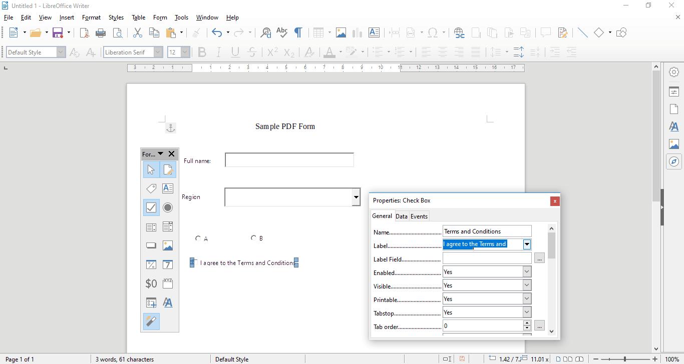 Cómo crear un formulario PDF rellenable en LibreOffice 5