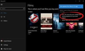 Cargar subtítulos externos en Movies & TV app de Windows 10