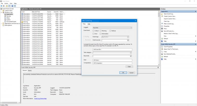 Perfil de usuario ID de evento de servicio 1500, 1511, 1530, 1533, 1534, 1542 1