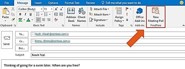 Utilice Microsoft FindTime para programar reuniones más rápidamente en Outlook 2