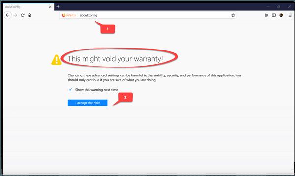 Haz doble clic en la pestaña Firefox para cerrarla - Habilita la configuración en la página about:config 1