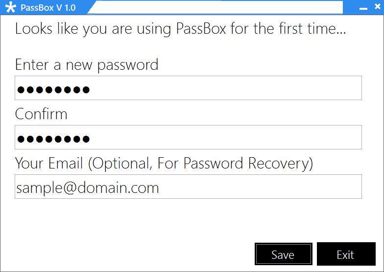 PassBox : Gestor y Generador de contraseñas gratuito para Windows 10/8/7 2
