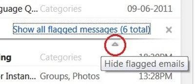 La nueva y mejorada característica de bandera de Hotmail, pines de correo en la parte superior. 2