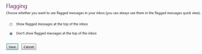 La nueva y mejorada característica de bandera de Hotmail, pines de correo en la parte superior. 5