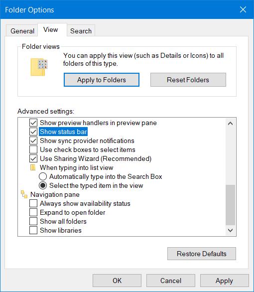 Cómo activar o desactivar la barra de estado en el Explorador de archivos en Windows 10 2