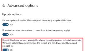 Configure Windows 10 para que se reinicie inmediatamente para instalar una actualización importante.