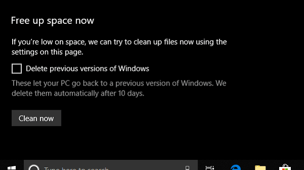 Liberar espacio en disco a través de la configuración de Windows 10