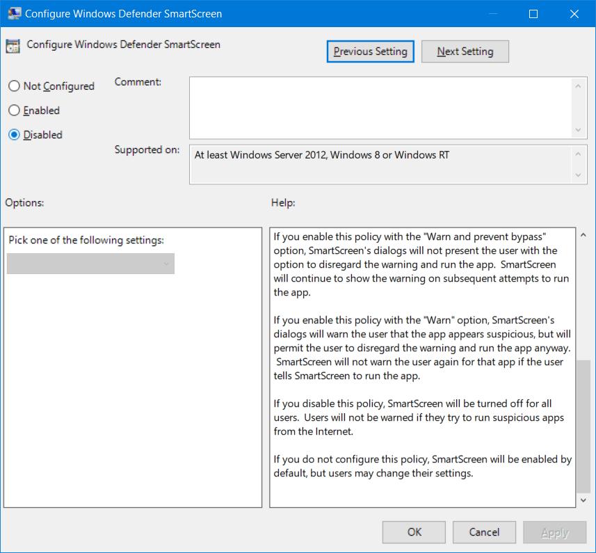 Cómo apagar o desactivar el Filtro SmartScreen en Windows 10