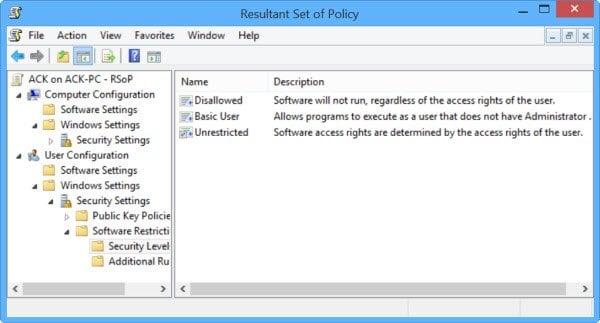 Verificar la configuración de la directiva de grupo con la herramienta Resultados de la directiva de grupo o GPResult.exe en Windows 2