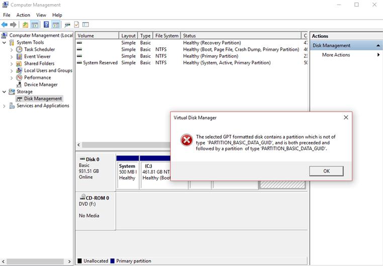 La partición de disco formateada GPT seleccionada no es del tipo PARTITION_BASIC_DATA_GUID