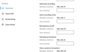 Establecer accesos directos de teclado personalizados para la barra de juegos en Windows 10