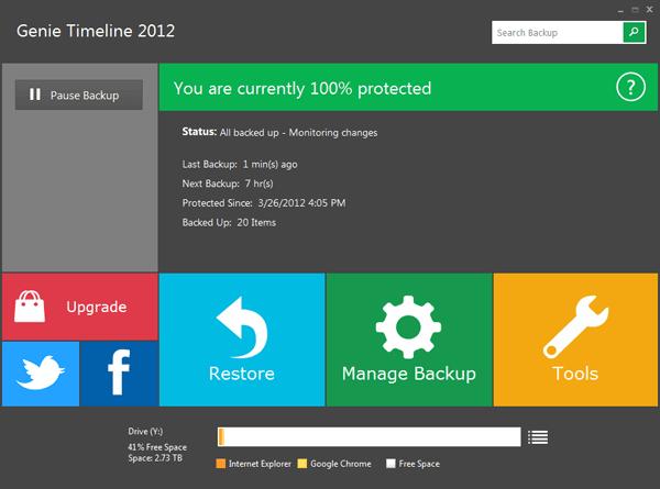Genie Timeline 2012 Gratis: Herramienta de copia de seguridad inspirada en Metro para Windows